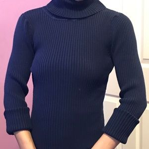 Navy ribbed turtle neck sweater